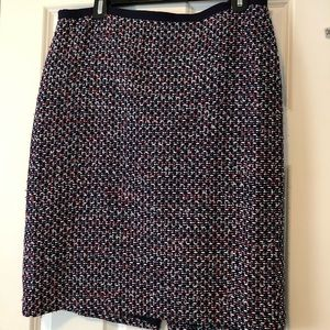 Talbots red white and blue tweed skirt